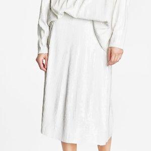 Zara Knit White Sequined Skirt